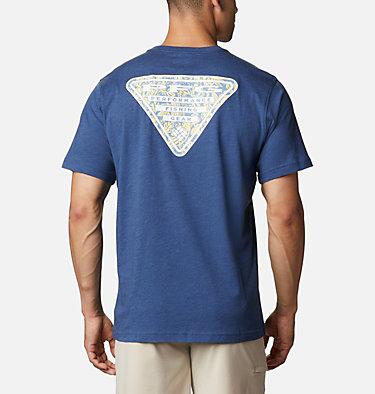 Men's PFG™ Triangle Print Pocket T-Shirt PFG™ Triangle Print Pocket Tee | 454 | M, Carbon, Archive Palms Print, front