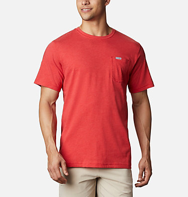 Men's PFG™ Triangle Print Pocket T-Shirt PFG™ Triangle Print Pocket Tee | 454 | M, Red Spark, Archive Palms Print, back