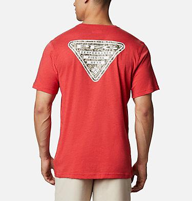 Men's PFG™ Triangle Print Pocket T-Shirt PFG™ Triangle Print Pocket Tee | 454 | M, Red Spark, Archive Palms Print, front