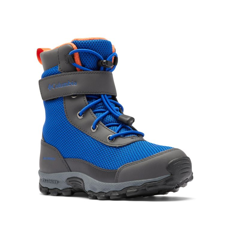YOUTH HYPER-BOREAL™ OMNI-HEAT™ WP | 408 | 4 Big Kids' Hyper-Boreal™ Omni-Heat™ Waterproof Boot, Cobalt Blue, Tangy Orange, 3/4 front