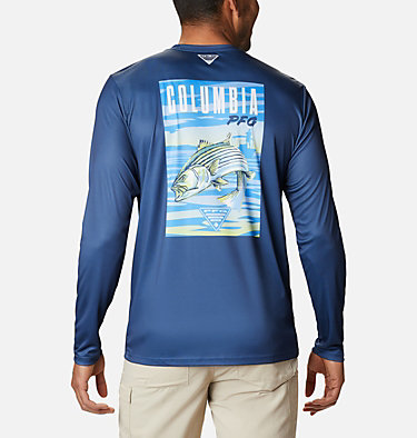 Men's PFG Terminal Tackle™ Vintage Fish Long Sleeve Shirt Terminal Tackle™ PFG Vintage Fish LS | 469 | XXL, Carbon, Striper, front