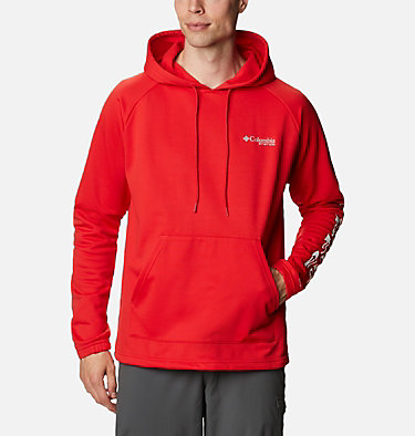Men's PFG Terminal Tackle™ Fleece Hoodie Terminal Tackle™ Fleece Hoodie | 487 | XS, Red Spark, White Logo, front