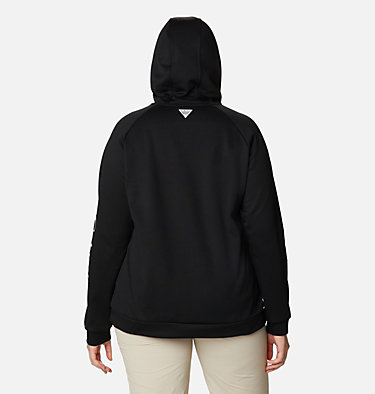 Women's PFG Tidal™ Fleece Hoodie - Plus Size Tidal™ Fleece Hoodie | 337 | 1X, Black, Cirrus Grey Logo, back