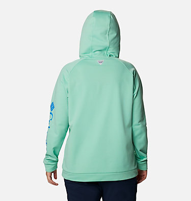 Women's PFG Tidal™ Fleece Hoodie - Plus Size Tidal™ Fleece Hoodie | 337 | 1X, Kelp, Stormy Blue Logo, back