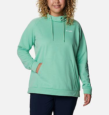 Women's PFG Tidal™ Fleece Hoodie - Plus Size Tidal™ Fleece Hoodie | 337 | 1X, Kelp, Stormy Blue Logo, front