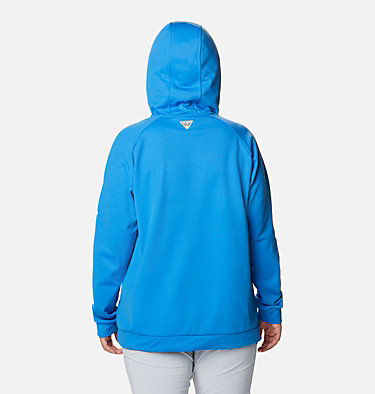 Women's PFG Tidal™ Fleece Hoodie - Plus Size Tidal™ Fleece Hoodie | 337 | 1X, Azure Blue, White Logo, back