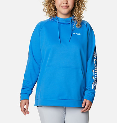 Women's PFG Tidal™ Fleece Hoodie - Plus Size Tidal™ Fleece Hoodie | 337 | 1X, Azure Blue, White Logo, front