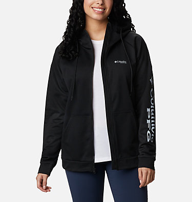 Women's PFG Tidal™ Full Zip Fleece Hoodie Tidal™ Fleece FZ Hoodie | 337 | XL, Black, Cirrus Grey Logo, front