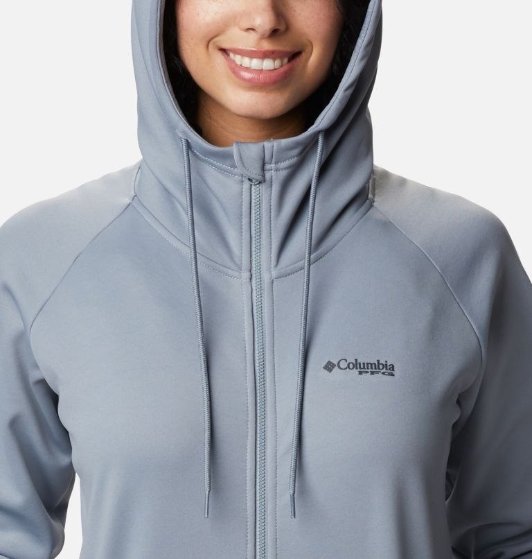 Tidal™ Fleece FZ Hoodie | 032 | S Women's PFG Tidal™ Full Zip Fleece Hoodie, Tradewinds Grey, Light Juice Logo, a2