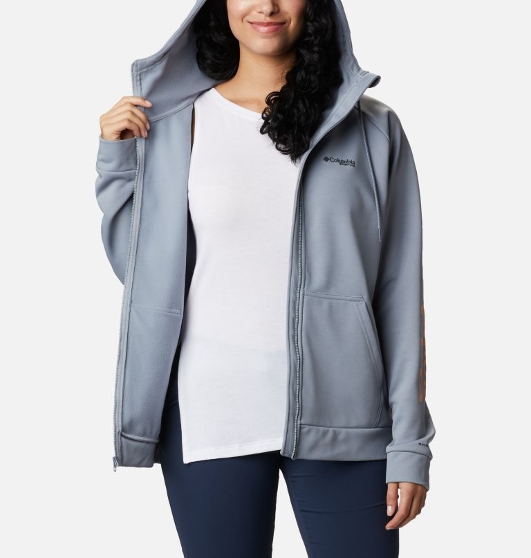 Tidal™ Fleece FZ Hoodie | 032 | S Women's PFG Tidal™ Full Zip Fleece Hoodie, Tradewinds Grey, Light Juice Logo, a3