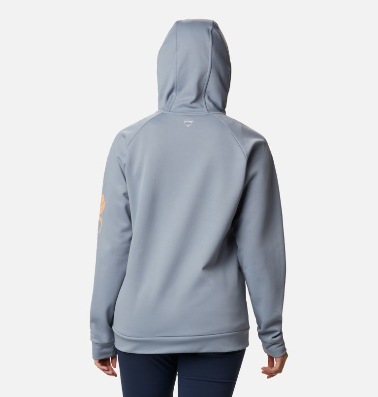 Tidal™ Fleece FZ Hoodie | 032 | S Women's PFG Tidal™ Full Zip Fleece Hoodie, Tradewinds Grey, Light Juice Logo, back