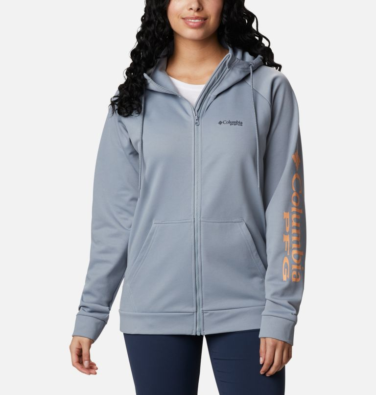 Tidal™ Fleece FZ Hoodie | 032 | S Women's PFG Tidal™ Full Zip Fleece Hoodie, Tradewinds Grey, Light Juice Logo, front