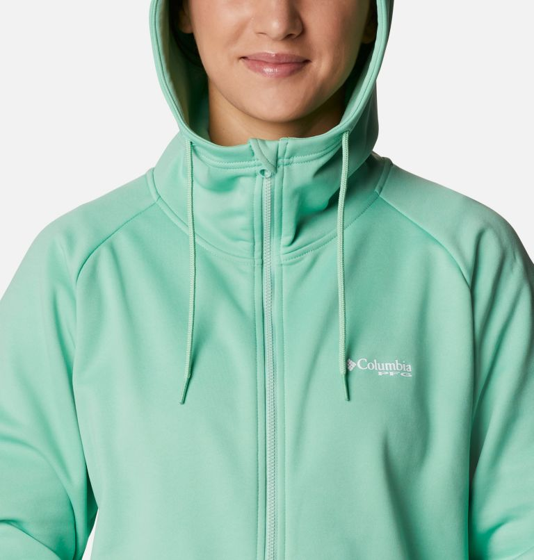 Tidal™ Fleece FZ Hoodie | 337 | XL Women's PFG Tidal™ Full Zip Fleece Hoodie, Kelp, Stormy Blue Logo, a2