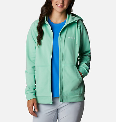 Women's PFG Tidal™ Full Zip Fleece Hoodie Tidal™ Fleece FZ Hoodie | 337 | XL, Kelp, Stormy Blue Logo, front