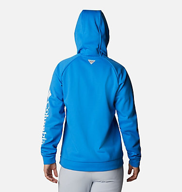 Women's PFG Tidal™ Full Zip Fleece Hoodie Tidal™ Fleece FZ Hoodie | 337 | XL, Azure Blue, White Logo, back
