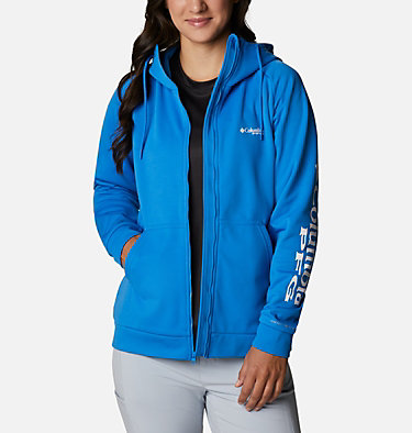 Women's PFG Tidal™ Full Zip Fleece Hoodie Tidal™ Fleece FZ Hoodie | 337 | XL, Azure Blue, White Logo, front