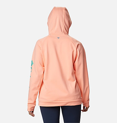 Women's PFG Tidal™ Full Zip Fleece Hoodie Tidal™ Fleece FZ Hoodie | 337 | XL, Tiki Pink, Dolphin Logo, back
