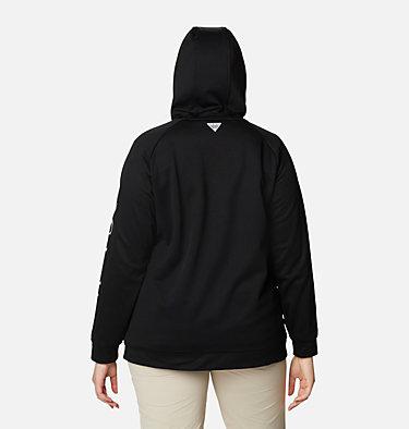 Women's PFG Tidal™ Fleece Full Zip Hoodie - Plus Size Tidal™ Fleece FZ Hoodie | 337 | 2X, Black, Cirrus Grey Logo, back