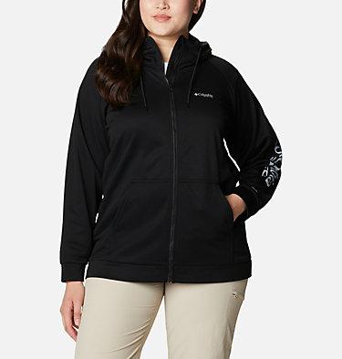 Women's PFG Tidal™ Fleece Full Zip Hoodie - Plus Size Tidal™ Fleece FZ Hoodie | 337 | 2X, Black, Cirrus Grey Logo, front
