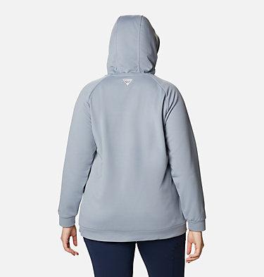Women's PFG Tidal™ Fleece Full Zip Hoodie - Plus Size Tidal™ Fleece FZ Hoodie | 337 | 2X, Tradewinds Grey, Light Juice Logo, back