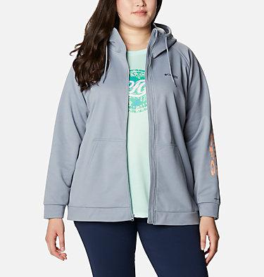 Women's PFG Tidal™ Fleece Full Zip Hoodie - Plus Size Tidal™ Fleece FZ Hoodie | 337 | 2X, Tradewinds Grey, Light Juice Logo, front