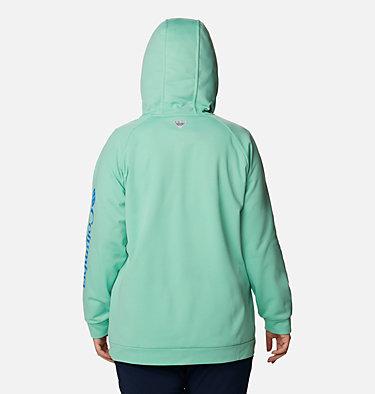 Women's PFG Tidal™ Fleece Full Zip Hoodie - Plus Size Tidal™ Fleece FZ Hoodie | 337 | 2X, Kelp, Stormy Blue Logo, back