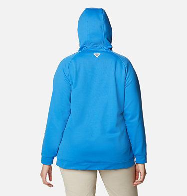 Women's PFG Tidal™ Fleece Full Zip Hoodie - Plus Size Tidal™ Fleece FZ Hoodie | 337 | 2X, Azure Blue, White Logo, back