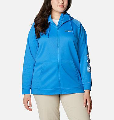 Women's PFG Tidal™ Fleece Full Zip Hoodie - Plus Size Tidal™ Fleece FZ Hoodie | 337 | 2X, Azure Blue, White Logo, front