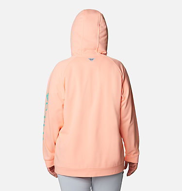 Women's PFG Tidal™ Fleece Full Zip Hoodie - Plus Size Tidal™ Fleece FZ Hoodie | 337 | 2X, Tiki Pink, Dolphin Logo, back
