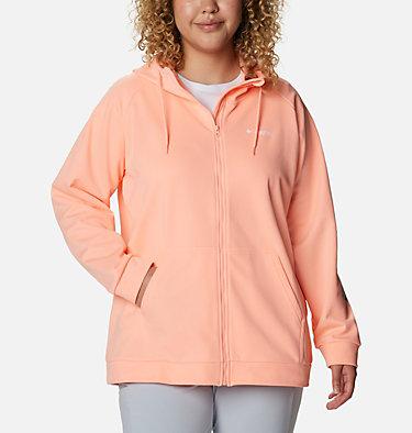 Women's PFG Tidal™ Fleece Full Zip Hoodie - Plus Size Tidal™ Fleece FZ Hoodie | 337 | 2X, Tiki Pink, Dolphin Logo, front