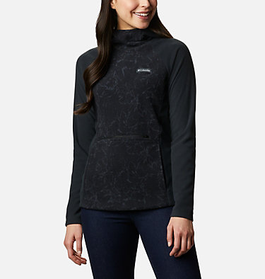 Ali Peak Hooded Fleecesweater für Frauen Ali Peak™ Hooded Fleece | 010 | L, Black, Brushstroke Floral Print, front