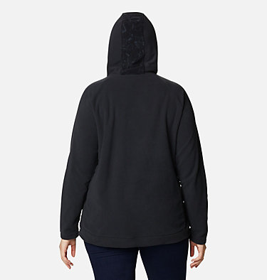 Women's Ali Peak™ Hooded Fleece - Plus Size Ali Peak™ Hooded Fleece | 031 | 1X, Black, Brushstroke Floral Print, back