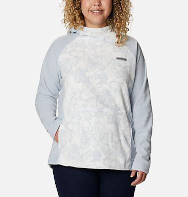 Women's Ali Peak™ Hooded Fleece - Plus Size Ali Peak™ Hooded Fleece | 031 | 1X, Cirrus Grey, Brush Floral Print, front
