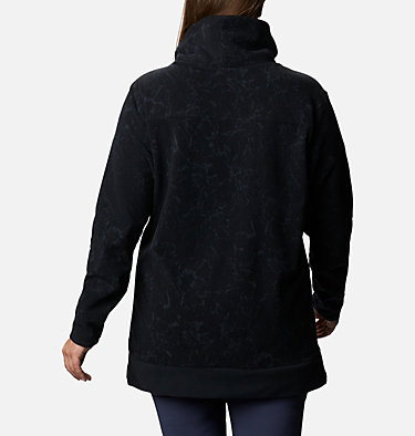 Women's Ali Peak™ Fleece Tunic - Plus Size Ali Peak™ Fleece Tunic | 010 | 1X, Black, Brush Floral Print, back