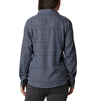 Women's Pine Street™ Stretch Flannel Pine Street™ Stretch Flannel | 430 | L, Tradewinds Grey Glen Plaid, back