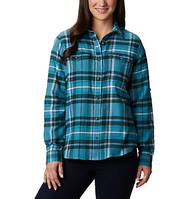 Women's Pine Street™ Stretch Flannel Pine Street™ Stretch Flannel | 430 | L, Canyon Blue Multi, front