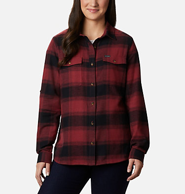 Women's Pine Street™ Stretch Flannel Pine Street™ Stretch Flannel | 430 | L, Marsala Red Buffalo Plaid, front