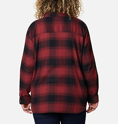 Women's Pine Street™ Stretch Flannel - Plus Size Pine Street™ Stretch Flannel | 619 | 1X, Marsala Red Buffalo Plaid, back