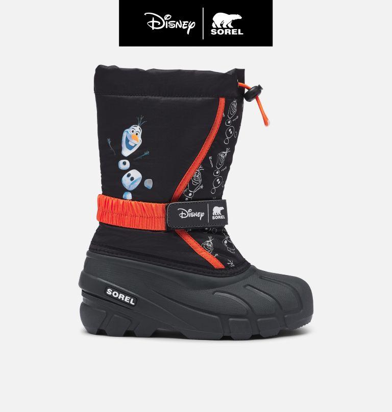 DISNEY X SOREL YOUTH FLURRY™ FROZEN OLAF | 010 | 7 Disney X Sorel Youth Flurry™ Frozen 2 Boot –Olaf Edition, Black, front