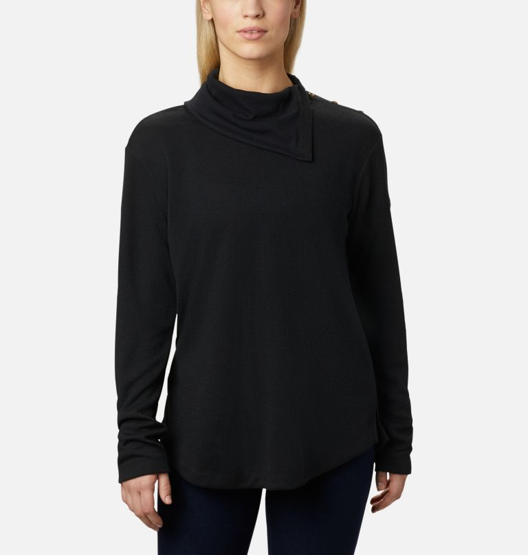 Pine Street™ Split Cowl Neck | 010 | S Women's Pine Street™ Split Cowl Neck Shirt, Black, front