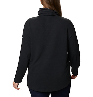 Women's Pine Street™ Split Cowl Neck Shirt - Plus Size Pine Street™ Split Cowl Neck | 485 | 1X, Black, back