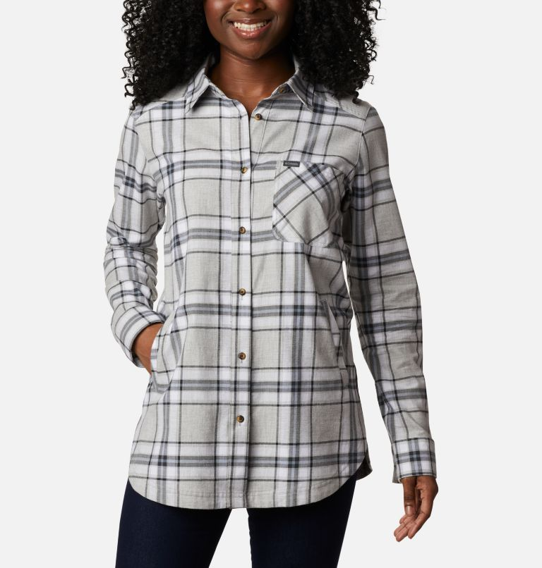Sunday Summit™ Plaid Tunic | 011 | XL Tunique à carreaux Sunday Summit™ pour femme, Shark Plaid, front