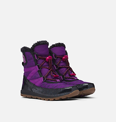 Disney X Sorel Youth Whitney™ Short Frozen 2 Boot –Anna Edition DISNEY X SOREL YOUTH WHITNEY™  | 594 | 3, Wild Iris, Black, 3/4 front
