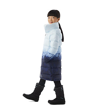 Girls' Disney Elsa Long Puffer Jacket Elsa Long Puffer | 432 | L, Aristocrat Elsa Tundra Ombre, 3/4 front