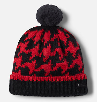 Kids' Fawn Hike™ Pom Pom Beanie Fawn Hike™ Youth Pom Pom Beanie | 191 | O/S, Red Lily, Black, front