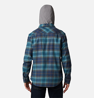 Men's Flare Gun™ Stretch Flannel Hoodie Flare Gun™ Stretch Flannel Hoodie | 010 | M, Canyon Blue Ombre Plaid, back