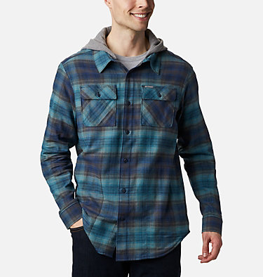 Men's Flare Gun™ Stretch Flannel Hoodie Flare Gun™ Stretch Flannel Hoodie | 010 | M, Canyon Blue Ombre Plaid, front