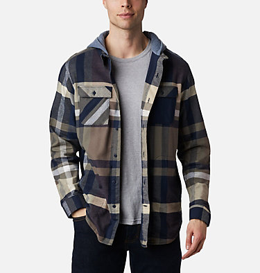 Men's Flare Gun™ Stretch Flannel Hoodie Flare Gun™ Stretch Flannel Hoodie | 010 | M, Collegiate Navy Tartan Plaid, front