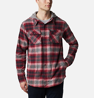 Men's Flare Gun™ Stretch Flannel Hoodie Flare Gun™ Stretch Flannel Hoodie | 010 | M, Mountain Red Ombre Plaid, front