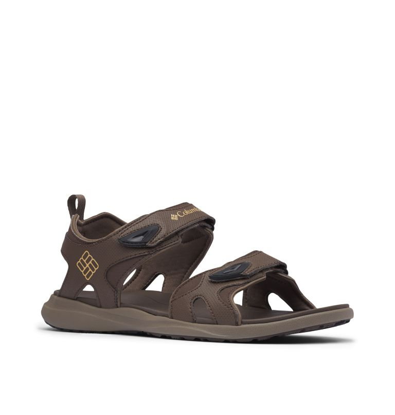COLUMBIA™ 2 STRAP | 231 | 9 Men's Columbia™ Ankle Strap Sandal, Cordovan, Curry, 3/4 front